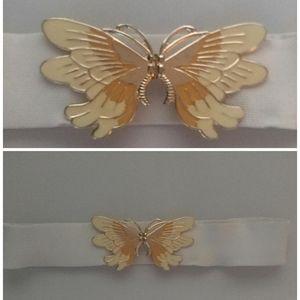 Vintage White Butterfly Enamel Yellow Orange Belt